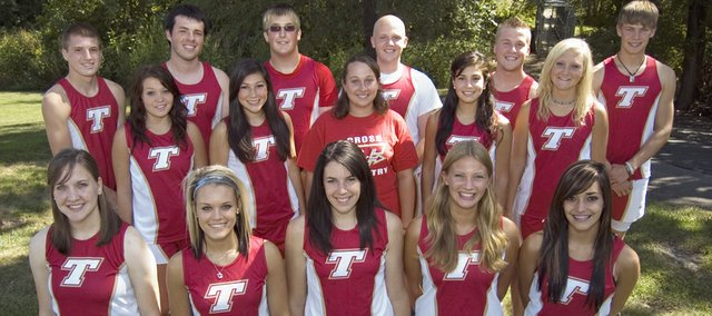 Tonganoxie High cross country seniors (front row) Jackie Chenoweth, Daigen Shepley, Tayler Miles, Rachel Collinge, Erika Flores, (middle row) Grae Wilbanks, Alex Hauk, Madison Hunter, Cristina Rubio, Nicole Gersbeck, (back row) Joel Dunning, Brenden Brower-Freeman, Hank Somers, Elliott Brest, Danny Byron and Keith Slater begin their season Thursday with a dual against Lansing.