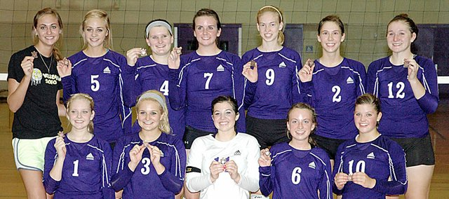 Baldwin High School's volleyball team placed third at the 10-team Baldwin Invitational Tournament Saturday. Pictured front row, from left, are Laykyn Clark, Claire Glover, Kaysha Green, Madeline McCrary and Paris Nottingham. Back row are Lyndsey Lober, Morgan Lober, Lindsey Roberts, Madeline Brungardt, Monica Howard, Ramie Burkhat and Katie Kehl.