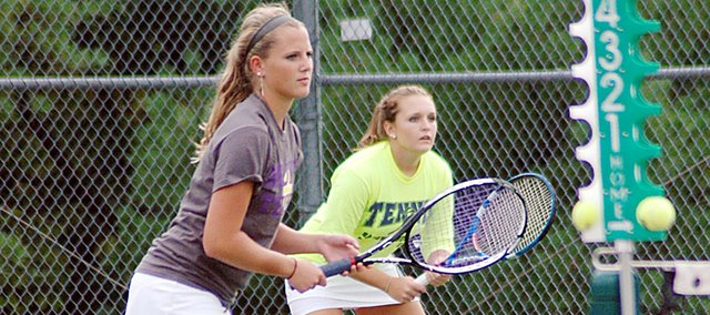 Baldwin High School juniors Hayley Schwartz, left, and Kara Hoegerl won the No. 2 doubles title at the Baldwin Invitational Tournament last week.
