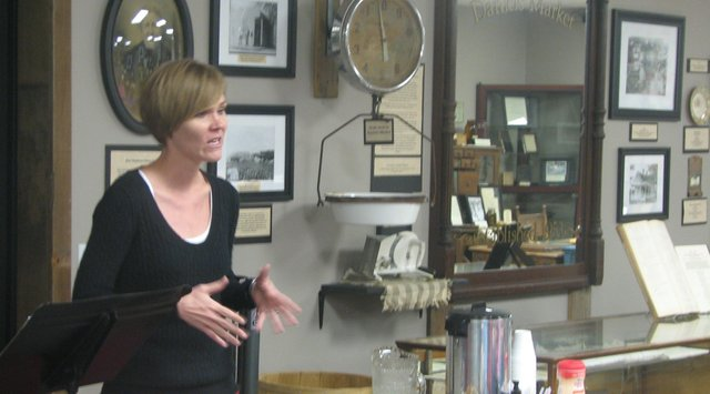 Julie McPike, program coordinator for Freedom's Frontier National Heritage Area, speaks about the Heritage Area at a Basehor Historical Museum Society meeting on Sept. 23.