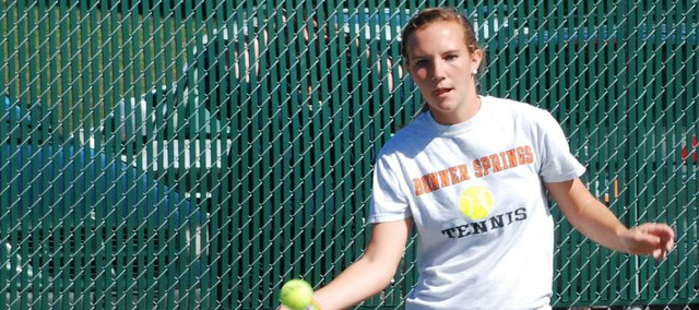 Bonner Springs junior Breanna Tendick returns a shot during the Bonner Springs Round Robin Invitational. Tendick and senior Catilin Hilliard were the tournament champions at number one doubles.