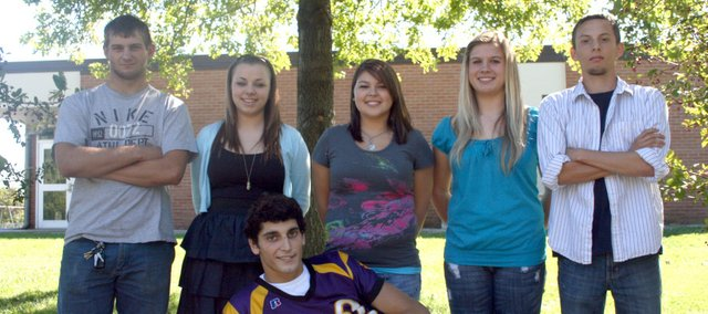 2010 McLouth High homecoming candidates are (front row) Trevor Roberts, (back row) Shane Cassatt, Jenni Claire Blevins, Katy Perry, Logan Terry and Derek Wright. A queen and king will be crowned at halftime of the McLouth-Horton football game on Friday at Stan Braksick Stadium.