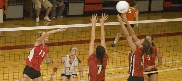 Brooklyn Kerbaugh goes for a kill in this Mirror file photo. The Tonganoxie High volleyball team finished third at the De Soto Spikefest on Saturday.