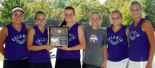 Baldwin High School's girls' tennis squad finished second at the Class 4A regional meet in Topeka on Saturday. The Bulldogs qualified five players to the state meet this weekend. Pictured, from left, are junior Alison Berg, senior Michaela Krysztof, senior Kara Protasio, sophomore Kaitlin Jorgensen, junior Kara Hoegerl and junior Hayley Schwartz.
