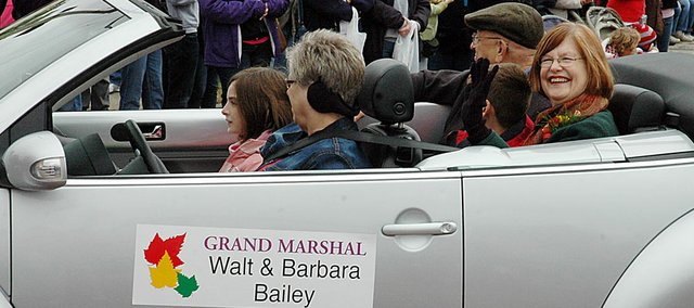 Last year's Maple Leaf Festival parade grand marshals were Walt and Barbara Bailey. This year they are Roger and Jan Boyd and Martin and Barbara Pressgrove.