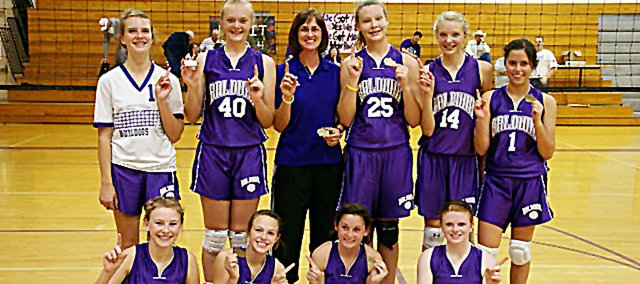Baldwin Junior High School's eighth-grade volleyball team won its second-straight Frontier League Championship Saturday. Pictured front row, from left, are Maddie Ogle, Emma Stewart, Sierra Hall and Emily Simpson. Back row are Molly Ogden, Jordan Hoffman, coach Brenda Shawley, Alexia Stein, Corey Valentine and Kelsie Champagne.