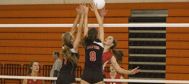Tonganoxie High senior Danielle Miller tries to find some space to operate against Bishop Ward on Saturday at the Kaw Valley League Tournament in Bonner Springs. THS went 4-1 at the tourney and finished third.