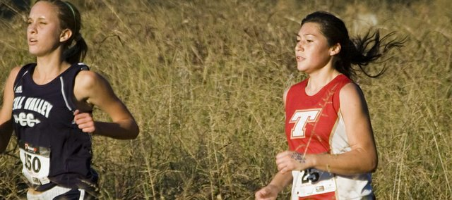 Tonganoxie High senior Alex Hauk prepares to pass a Mill Valley runner on Thursday at the Kaw Valley League Meet at Wyandotte County Park.