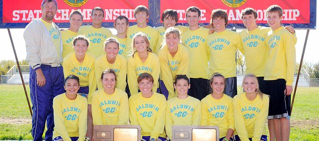 Baldwin High School's cross country teams swept the team titles at the Class 4A state meet Saturday. It's the first time both teams have won state championships in the same year since 2005.