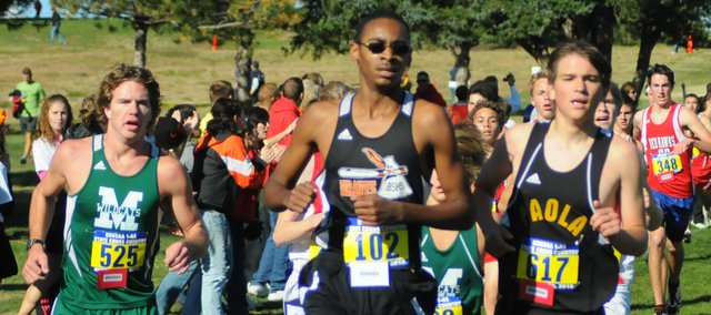 Bonner Springs sophomore T.J. Kimbrough competes at the Class 4A cross country state championships. It was Kimbrough's first time running at state.