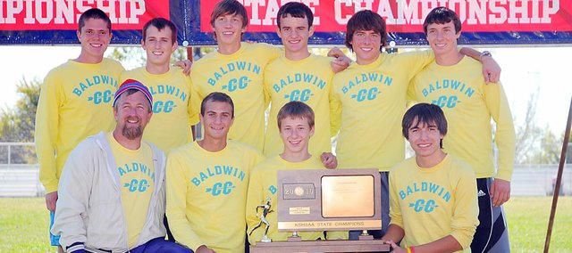Baldwin High School's boys' cross country team won the Class 4A state championship Saturday. Pictured front row, from left, are coach Mike Spielman, junior Brian Wright, freshman Ethan Hartzell and junior Tosh Mihesuah. Back row are seniors Brandon Baltzell, Joey LaBuda, Ethan Horne, Kyle Garcia, Tony Weiss and Carson Barnes.