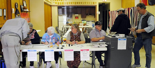 Baldwin City voters cast their ballots Tuesday afternoon at the American Legion Hall.