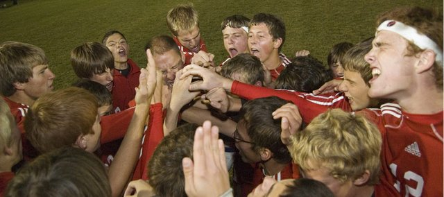 For the second night in a row, the Tonganoxie High boys soccer team gathered on its opponent's home field and celebrated a playoff victory. On Oct. 26, the Chieftains won, 2-1, at Basehor-Linwood.
