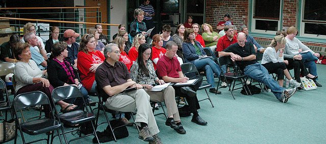 A large crowd attended the October Baldwin School Board meeting. An even larger crowd is expected for tonight's public hearing, which starts at 7 p.m. in the Baldwin Junior High School auditorium.