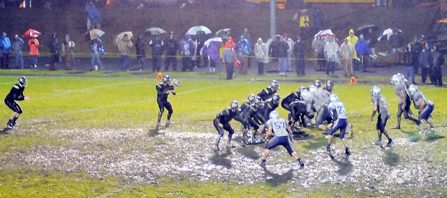 Baldwin High School and Paola competed for the Class 4A sectional title Friday night in cold, windy and rainy conditions at Paola. The Panthers won the game 21-6.