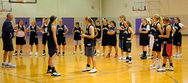 Baldwin High School girls' basketball coach Bob Martin, left, instructs his players during the season-opening practice Monday afternoon.