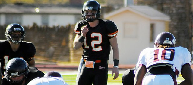 Baker University freshman quarterback Jake Morse (No. 12) became the Wildcats' starter during the second half of the season after splitting time with freshman Zach Faust during the first three games of the season.