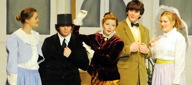 "Baldwin High School senior Ann Wallsmith, center, played the lead role of Dolly Levi in ""Hello Dolly"" in the fall musical."