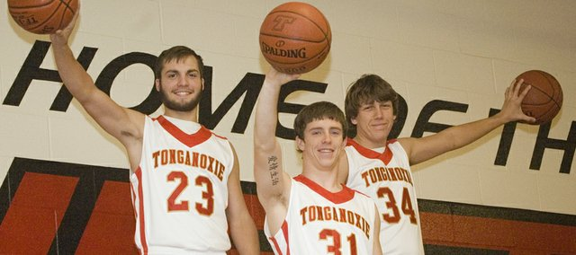 Tonganoxie High basketball seniors Dylan Scates, Jeremy Carlisle and Austin Vickers are the Chieftains' leading returning players on the perimeter.