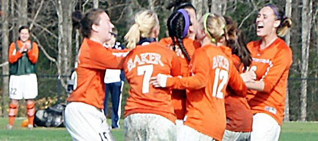 Members of the Baker University women's soccer team celebrate after beating William Jewell 5-2 Thursday.
