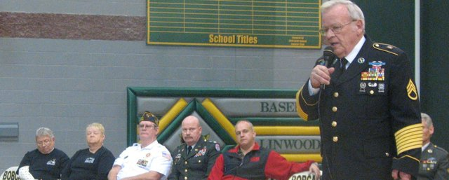 Basehor VFW Post Commander Fred Box tells Basehor-Linwood High School students Tuesday about his experiences during and after the Vietnam War, during which he served as an Army Ranger.