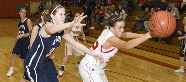 Tonganoxie High forward Tavia Brown chases after a loose ball Saturday morning in the seventh-place game of the Tonganoxie Invitational. The Chieftains defeated Eudora, 43-26.