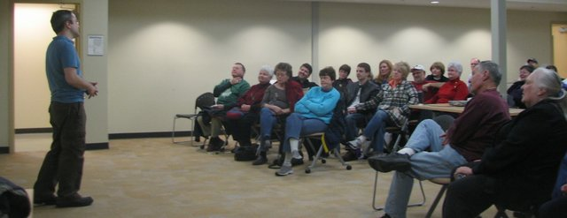 "Filmmaker Joe Winston discusses his documentary ""What's the Matter with Kansas?"" with audience members after a screening of the film at Basehor Community Library on Monday."