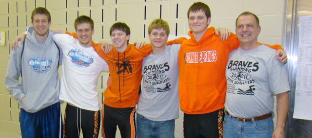 The Bonner Springs boys swimming team had plenty to smile about as it capped its first trip to the Class 5-1A state championships with a top-10 finish in the 200-yard freestyle relay. Pictured are, from left, Tyler Dubin, Jonathan Price, Ryan Cook, Ethan Hook, Blaine Edmondson and coach Lynn LaNoue.