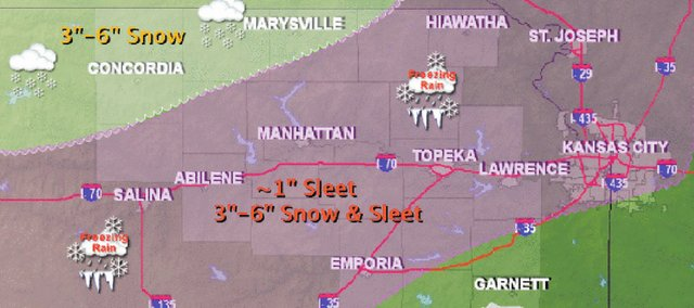 Sleet and up to 6 inches of snow are in today's forecast across the region.