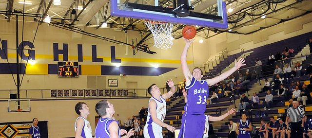 Baldwin High School sophomore Dayton Valentine scores two points Tuesday. Baldwin lost the game 65-47.