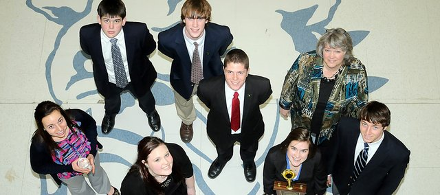 Baldwin High School's Real World Design Challenge team last week won its third state championship in as many years. The BHS students will travel in April  to Washington, D.C., to defend the national title a BHS team won last year. Pictured here front row, from left, are Kaitlyn Barnes, Mackenzie Johnson, Carrie Deitz and Carson Barnes. Back row are Mac Halpin, Austin Kraus, Brandon Baltzell and coach Pam Davis.­