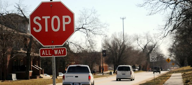 The Baldwin City Council approved a speed limit increase that makes all of Sixth Street 30 mph. City crews have also moved stop signs from Chapel Street to Dearborn Street, shown here, on Sixth Street.
