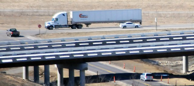 During 2010, several overpasses were built along the new U.S. Highway 59, like this one at North 1000 Road. KDOT is expecting to begin paving the new highway this summer, starting at the southern end of the Douglas County line.