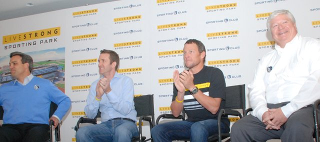 From left, Sporting Kansas City CEO Robb Heineman, Livestrong president and CEO Doug Ulman, cyclist Lance Armstrong and Sporting Kansas City co-owner Cliff Illig were all smiles at a press conference Tuesday announcing the naming of the soccer club&#39;s new stadium as Livestrong Sporting Park.
