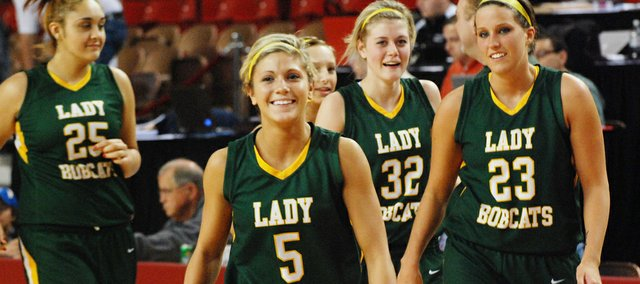 Shelby Equels (5) and the Basehor-Linwood girls are headed to the Class 4A state semifinals after beating Colby 37-28 on Friday in the first round of the state tournament.