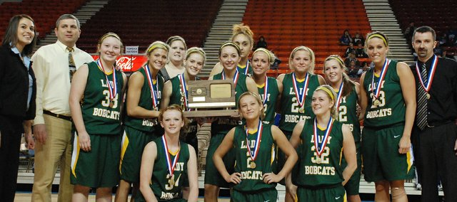 The Basehor-Linwood girls beat Ottawa, 47-36, in the third-place game at the Class 4A state tournament on Saturday, March 12, 2011. The trophy is the first for the BLHS girls since Basehor and Linwood high schools consolidated. The Bobcats finished the season with a 20-5 record.