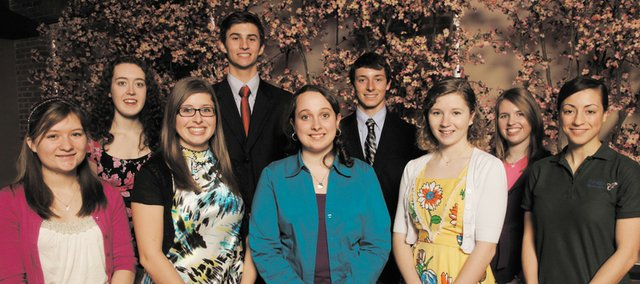 The 2011 Academic All-Stars. Front row, from left, are Anna Stone, Ottawa; Corinne Hoffhines, McLouth; Madison Hunter, Tonganoxie; Ann Wallsmith, Baldwin; and Shereen Fattaahi, Veritas Christian School. Back row, from left, are Rosemarie Murray, Lawrence Free State; Marshall Thurman, Bishop Seabury; Carson Barnes, Baldwin; and Angela Hawkins, Santa Fe Trail.