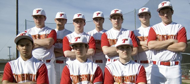 Tonganoxie High's senior baseball players hope the 2011 season will feature more wins than last year, when the Chieftains went 4-14. Pictured are (kneeling) Shawn Marin, Luke Dyleski, Jeremy Wagner, (back) AJ Gilbert, Dan Hopkins, Jeremy Carlisle, Corey Klinkenberg, Dylan Fosdick, Ethan Lorance and Dylan Puhr. Not pictured: Justin Soetaert.