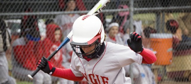 Tonganoxie High's Caly Ingle-Maxwell hops backward in the batter's box to move out of the path of an inside pitch Monday against Bishop Ward. The Chieftains swept the Cyclones, with a three-inning 17-2 victory and a 6-5 eight-inning win.