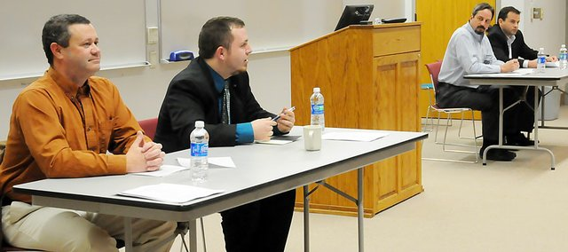 All four Baldwin City Council candidates attended the public forum Tuesday evening at Baker University. The candidates, from left, are Ken Hayes, Jason Mock, Shane Starkey and Coy Weege.