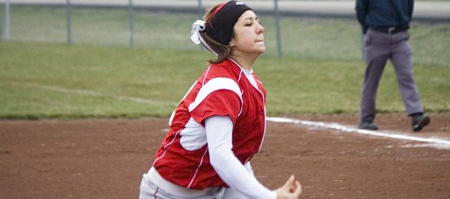 Tonganoxie High pitcher Tiffany Jacobs throws Thursday against Basehor-Linwood. Jacobs pitched a complete game in a 3-1 loss against the Bobcats.