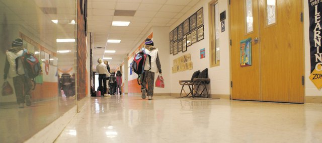 Students at Vinland Elementary School walk down the hall together to leave for the day. Vinland Elementary School is one of two Baldwin City USD 348 schools that will be closed at the end of the academic year.