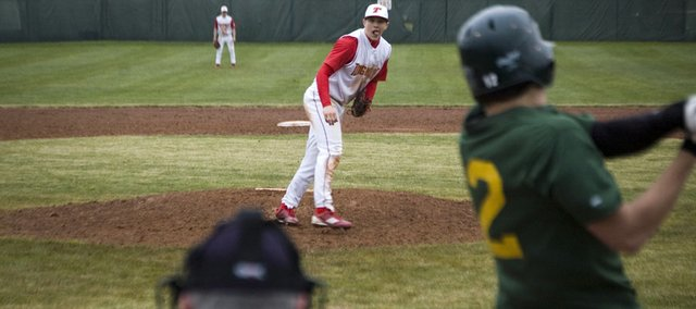 Tonganoxie High pitcher Ethan Lorance strikes out Basehor-Linwood's Joe Merino in the eighth inning Thursday. BLHS won the game, 8-7, and swept THS.