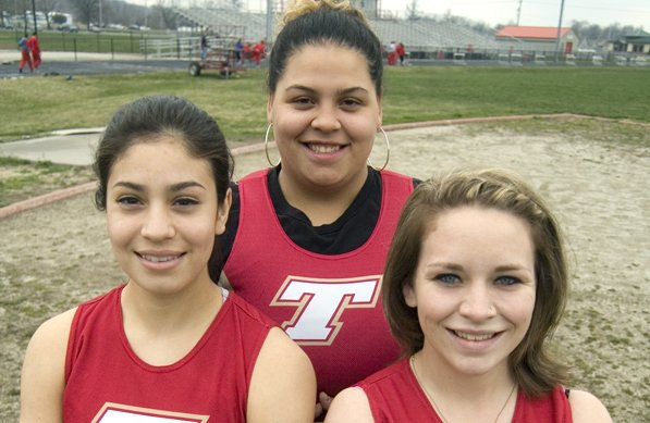 The Tonganoxie High girls track team is a relatively young group this season with just three seniors, Cristina Rubio, Domino Grizzle and Dannie Oelschlaeger.