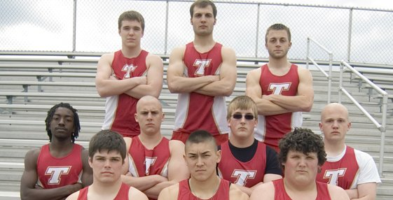 Members of the Tonganoxie High boys track team expect field events to be their strength this season. The Chieftains' 2011 seniors are (front row) Lucas Ahart, Dan Hopkins, Cody Stine, (middle row) Adrian Whittington, Bryson Hewins, Hank Somers, Elliott Brest, (back row) Ian McClellan, Dylan Scates and Jake Willis.