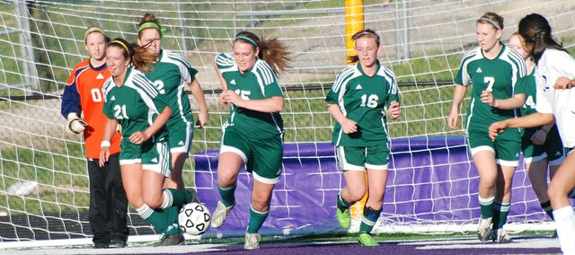 Basehor-Linwood senior Hanna Kenton clears the ball from the Bobcats' defensive end during their 10-0 loss to Piper.