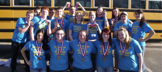 The Tonganoxie High School Science Olympiad team had several medal winners at Saturday's state competition at Wichita State University. Pictured are, front row, from left, Cristina Rubio, Miranda Bontrager, Madi Hunter, Megan Woods and Carrie Calovich; back row, from left, Colton Young, Matthew Christensen, Wes Williams, Katelyn Waldeier, Paige Lauri; middle row, from left, Aaron McIntyre, Dane Erickson, Marcus Titterington, Sidney Grinter, Natasha Sudac, Hunter Sturgis and Jessica Rubio.