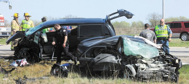 A two-vehicle accident east of Eudora around 3:30 p.m. Saturday claimed the life of two people, and three others were injured.