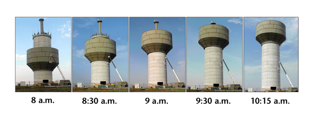 This sequence shows the slow climb of a 300,000-pound steel bowl up the 105-foot concrete base of the new Consolidated Water District No. 1 water tower Monday morning in Basehor.