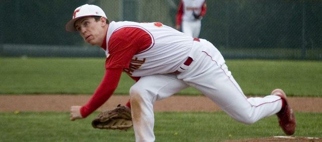 Tonganoxie High senior pitcher Jeremy Carlisle throws against Piper on Thursday at Kansas City, Kan. Carlisle allowed just three hits and two runs in eight innings, but the Chieftains lost Game 1 of a doubleheader, 2-1. THS bounced back, however, to win Game 2, 4-2.